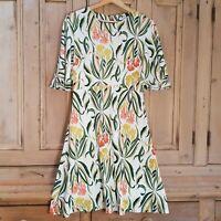 Next Dress Size 8 UK Floral Skater Womens White Green Yellow