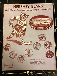 1965-1966 HERSHEY BEARS VS SPRINGFIELD INDIANS AHL HOCKEY Program 24 pages