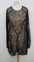 GUESS Ladies Beige Black Eyelash Floral Lace Long Sleeve Bodycon Dress L BNWT