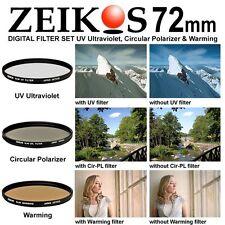 72mm Multi-Coated 3 Piece Lens Filter Kit Set UV CPL FLD 72 mm ZE-FLKS72 MC Slim