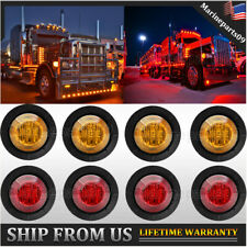 "8X 3/4"" Bullet Clearance Marker LED Lights Red Amber Trailer Truck Signal Light"