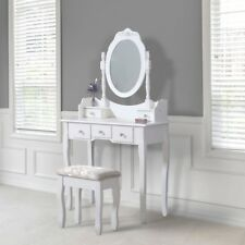White Dressing Table, Oval Mirror & Stool Set (5 Drawer) Bedroom Makeup Desk