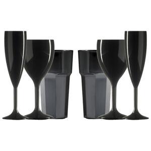 Set of Plastic Black Champagne(6.6oz),Black Wine(11oz) & Black Tumblers (12oz)