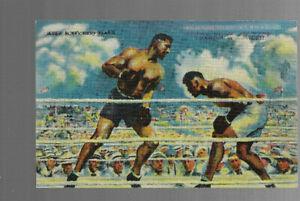 OLD POSTCARD clr JACK DEMPSEY KOs JESS WILLARD 1940s J Montgomery Flagg  BOXING