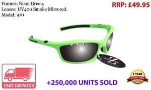 RayZor Green Sports Wrap Sunglasses Uv400 Vented Smoked Mirror Lens RRP£49 (401)