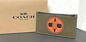 Coach X MBJ Naruto Zip Card Case Leather Ninja Green 7348 New
