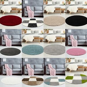 CIRCLE LARGE SMALL ROUND SHAPE SHAGGY RUGS MODERN FLUFFY for LIVING ROOM BEDROOM