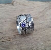 Amethyst Stone Solid 925 Sterling Silver Spinner Meditation Statement Ring V876