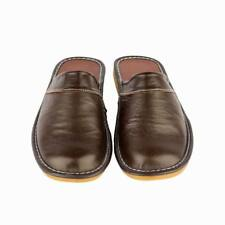 SIZE 10 Gents Cow Leather Slippers for Men Soft Sole Slides Home Floor Sandals