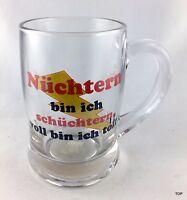 Bierseidel Bierglas Nüchtern bin ich... Glas Henkel Bierkrug 0,3l Geburtstag Par