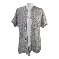 Chicos 2 Womens Cardigan Sweater Open Front Crochet Knit Short Sleeve Size Large