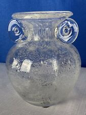 Blown Art Glass Decor Posy Bud Flower Vase Controlled Bubbles Handles By Amici