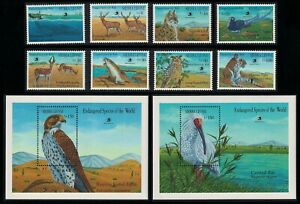 Sierra Leone Kestrel Ibis Owl Birds Lion Whale Tiger Fauna 8v+2 MSs 1989 MNH