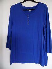 Laura Ashley Woman Blue Stretch Textured Top/ Shirt/ Top SZ XL