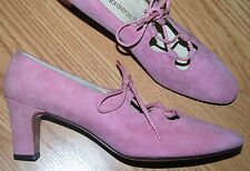 Vintage DELMAN pink suede leather lace up booties BLOCK heels PUMPS 9 N NEW USA