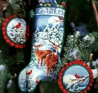 Cross Stitch PATTERN Christmas Stocking SNOWY FOREST EVENING Deer  Nancy Rossi