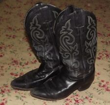 Used Men's JUSTIN Cowboy Boots Black leather size 8EE