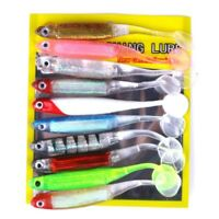 US 10pcs Soft Silicone Fishing Lures Fish Lure Swim Bait Tackle Hooks Saltwater