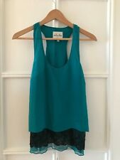 Chelsea Flower- Layered Halter Top - Turquoise Green 100% Silk - Size S Small