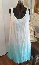 Eileen Fisher Ladies M Scoopneck Ombre Aqua Gauzy Linen Dress NWT $278 FAB!