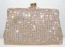 Crystal Beaded Evening Clutch Handbag Purse - Gold - New!