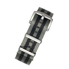 Seatbelt Reloj Correa de Nylon de la OTAN en Rayas Gris Y Negro Con Acero Pulido Hardw