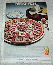 1972 print ad - Chef Boy-Ar-Dee PIZZA French recipe mushrooms onions Bleu cheese