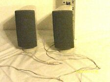 "Vintage UNBRANDED 2 Computer Speakers Wired -Beige Plastic 6.5""X 3"" Tested"