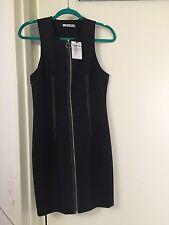 NWT T by Alexander Wang Sleeveless Tech Suiting Zip Black Sheath Dress Size 10