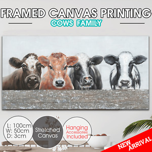 cows family canvas print stretched framed Wall art home decor painting 100*50cm