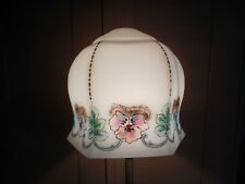 ART NOUVEAU PINK AND BLUE PANSIES SATIN GLASS LIGHT SHADE LAMPSHADE