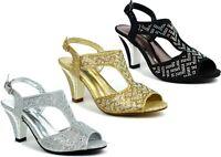 Ladies New Stone Establishment Block Heel Peep Toe Strictly Sandal UK Size 3-8