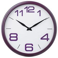 Nueva ronda Reloj De Pared Morado Blanco tiempo Diseño Retro Infantil Dormitorio Cocina Hogar