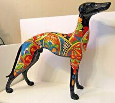 "Talavera Italian Greyhound Dog Ceramic Statue Whippet Mexican Folk Art 20.5"" XL"