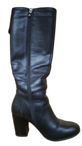 Women Long Boots Block Heels Leather Winter 38 5 UK 7.5 US Black Wool Lined