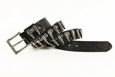 Heavy Metal Bullet Studded Real Leather Cowhide Waist Belt Punk Retro Waistband
