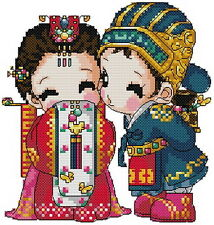 Free shipping 14 counted aida oriental baby cross stitch kids kit KK125