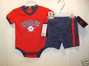 Cleveland Indians MLB Bodysuit & Shorts Set Infant 6/9 Months NEW