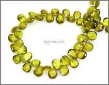 53ct Gem Peridot Pear Briolette Beads 4x6-6x7mm #85339