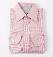NWT $645 TOM FORD Pink Glen Check Spread Collar Cotton Dress Shirt 15