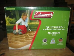 COLEMAN QuickBed Queen Size Air Mattress Bed Camping Inflatable Suede Top Tan
