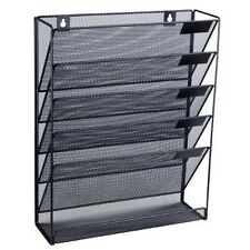 Wall Paper Holder Office Black Mesh Display Mounted Stand Organizer Letter Rack