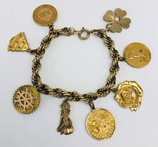 Vintage Antique Gold Filled Charm Bracelet With 8 Different Charms