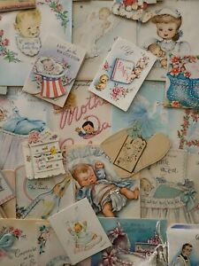 62 Vtg Baby Greeting cards NEW BABY Congrats Christening Scrapbook lot 1940-50s