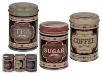 Round Storage Metal Retro Coffee Tea Sugar Tins Set of 3 Vintage Design