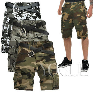 Military Mens  Baggy Pants Camo Cargo Shorts Camouflage Bermuda Work Army Loose