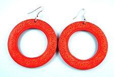 Red Round Hoop Lightweight Wood Laser Cut Dangle Fashion Earrings # B209
