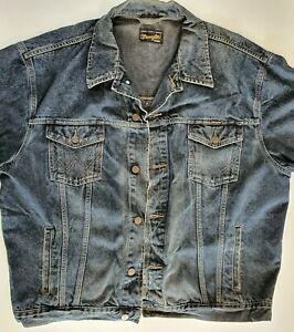 Men`s Vintage Wrangler Denim Jacket Size 3XL  Dark Blue