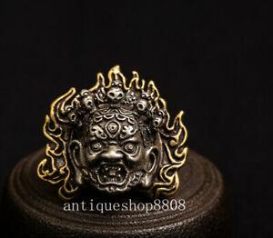 China Tibet Bronze Copper Mahakala Wrathful Deity Buddhism Head Mask Pendant