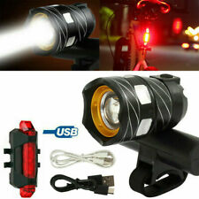 T6 LED MTB Rear&Front Set 15000LM Bicycle Lights Bike Headlight USB Rechargeable